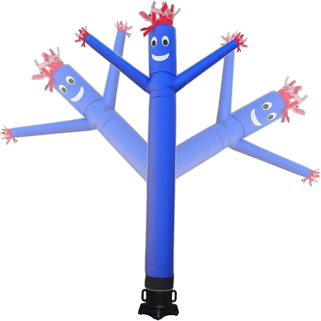 Mkevi 20ft Sky Air Puppet Dancer Inflatable Arm Flailing Tube Man Wacky Wavy Wind Flying Dancing Man for DIY Stand Out Advertising No 18in Blower (Blue)