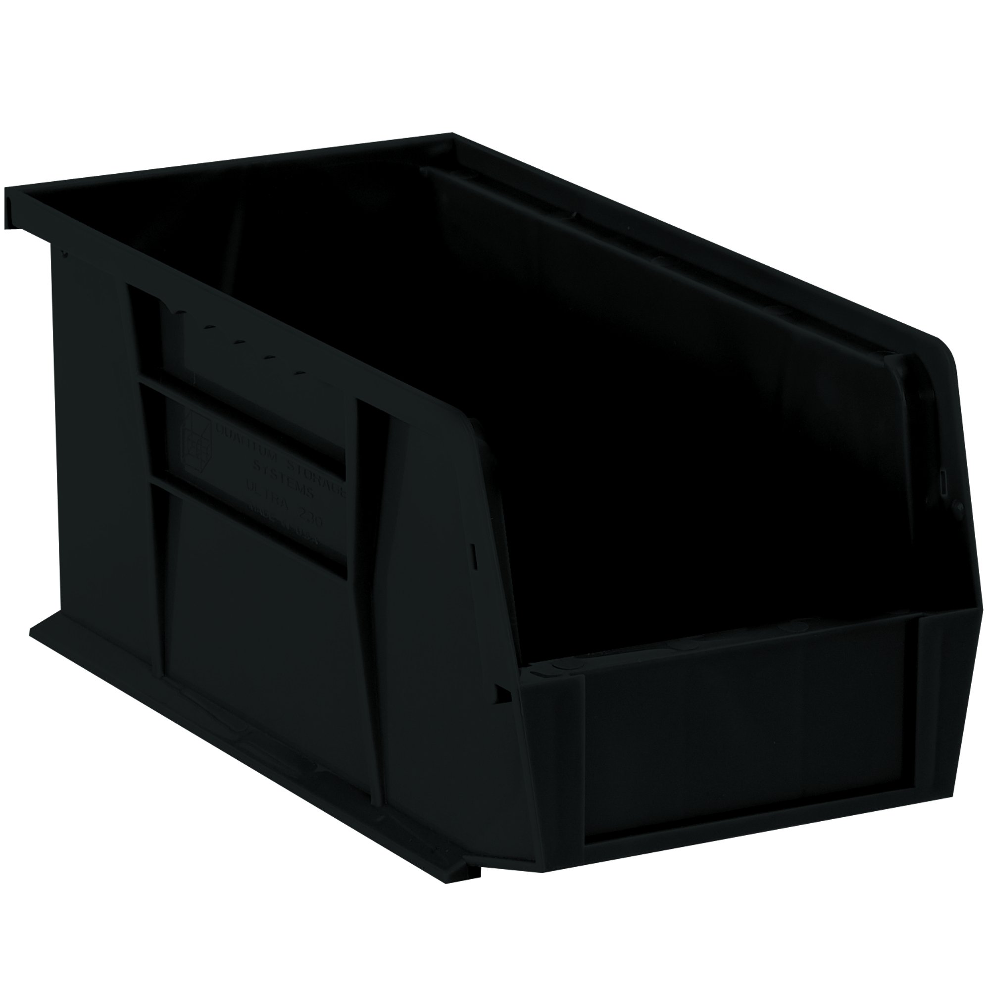 Aviditi BINP1487K Plastic Stack and Hang Bin Boxes, 14 3/4'' x 8 1/4'' x 7'', Black (Pack of 12)