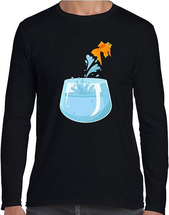 5a7ad4fee Amazon.com: Zeyanzehong Goldfish Jumping Out of Fishbowl Graphic Tee Men T  Shirt Long Sleeve Black S: Clothing