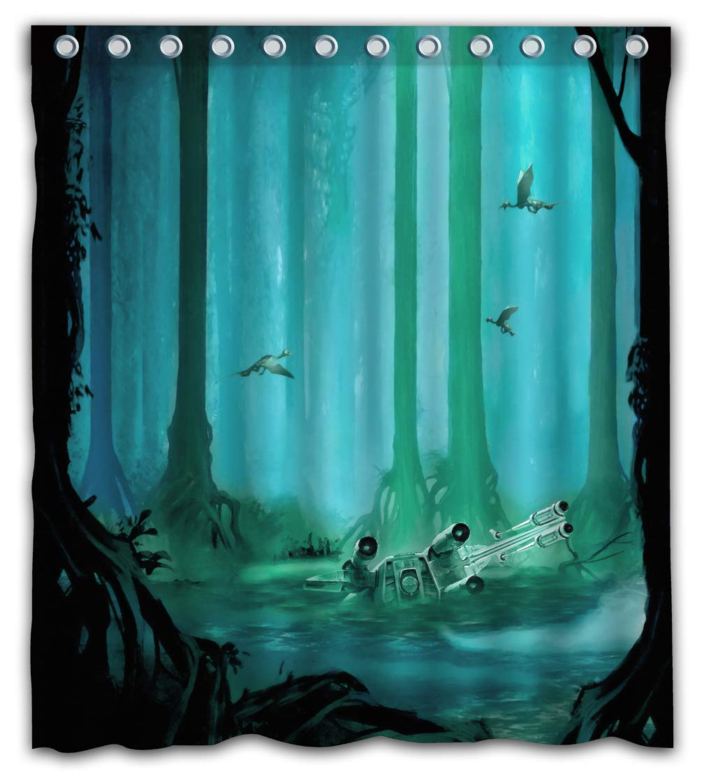 Amazon Necky Jennifer Cool Design Dagobah Green Forest Craft Waterproof Mildew Resistant Fabric Shower Curtain 12 Holes For Bathroom Decor