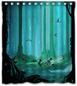 Necky Jennifer Cool Design Dagobah Green Forest Thick Heavy Waterproof Fabric Shower Curtain 12 Holes for Bathroom Decor - 66x72 Inches