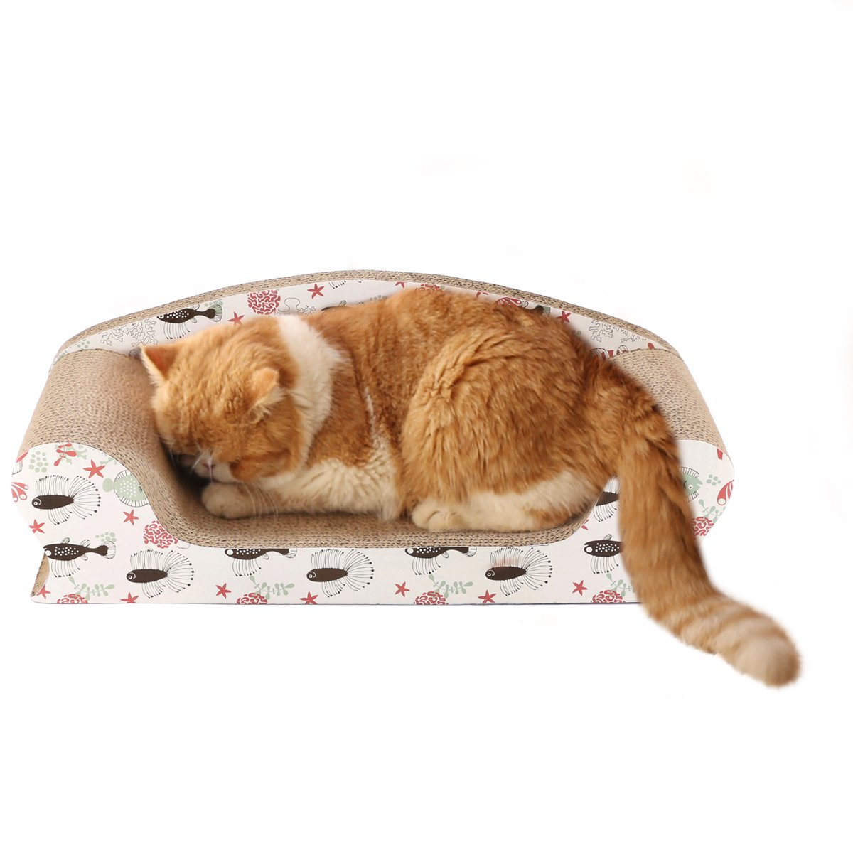 Vivaglory Cat Scratchers Sofa Lounge for Large Cats, Kitty Cardboard Scratch Bed, Kitten Scratching Couch for Rest and Furniture Protect with Catnip, Sea World Print