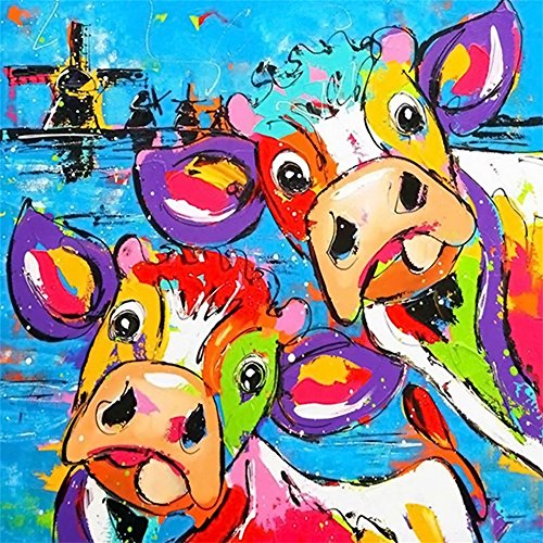 (Usstore  5D Diamond Painting for Home Decor Bedroom Living Decor Gift, Cartoon Cow Shining Diamond Picture Handwork DIY Diamond Painting Cross Stitch Pictures Arts Craft (A))