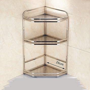 Chen Estantería de cocina de acero inoxidable Estante de esquina de ...