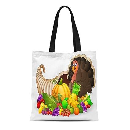 1ab5c86eba62 Amazon.com: Semtomn Cotton Canvas Tote Bag Thanksgiving Horn Plenty ...