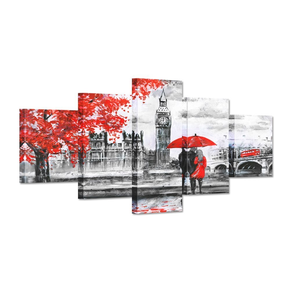 Hello Artwork - Abstract Wall Art Painting Red Umbrella Couple Walking On Rainy Day London Street Romantic Big Ben Clock Landscape Modern Home Decor Canvas Picture Print by Hello Artwork