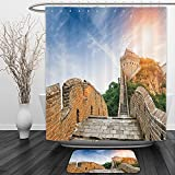Vipsung Shower Curtain And Ground MatGreat Wall of China Legendary Dynasty Monument on Cliffs Historical Countryside Design Grey BlueShower Curtain Set with Bath Mats Rugs