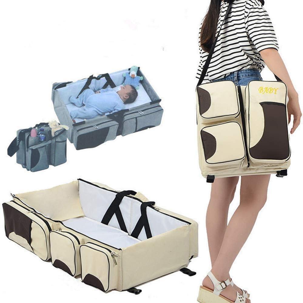 YMJJ 3 en 1 Bolsas de pañales para bebés, Multifuncional Bolsa de Viaje bebé Cuna Cama Plegable portátil pañal Bolsa de Transporte para los 0-12 Meses