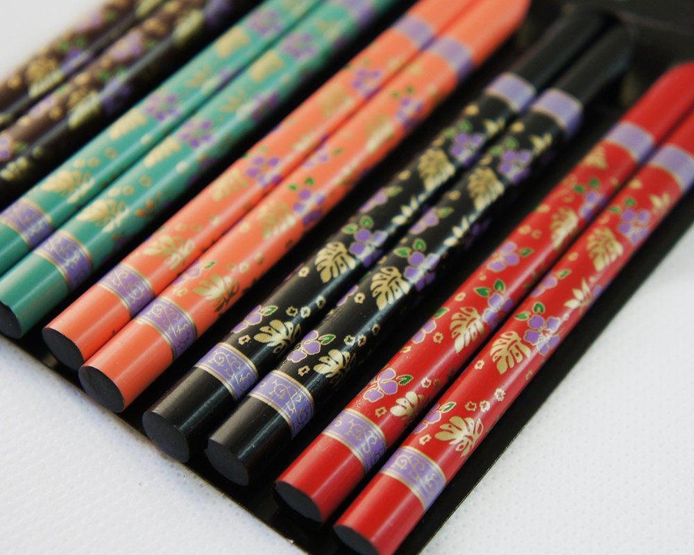 Ernesto 5 pares palillos de bambú con diseño de flores, chino, japonés Chop Sticks ESS varillas, Rojo de Negro de naranja de color verde de color marrón: ...