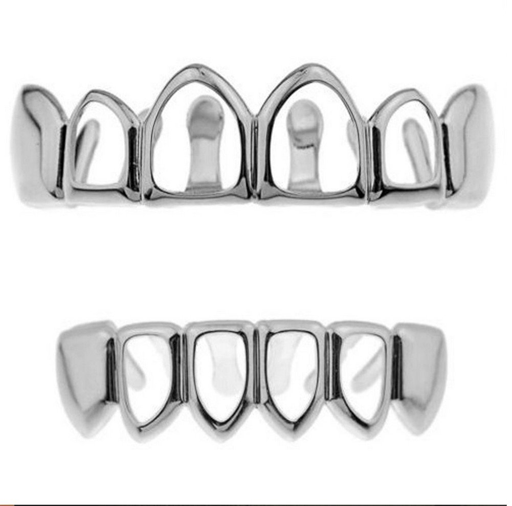 CaptainCrafts Gold Plated Hip Hop Hollow Teeth Grillz Caps Top Bottom Teeth Set (Silver) Hip Hop gold Grillz