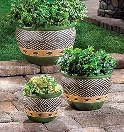 Superieur Garden Planters Set OF 3 Round Ceramic Pots Indoor U0026 Outdoor Decorative  Home Office Patio Plant