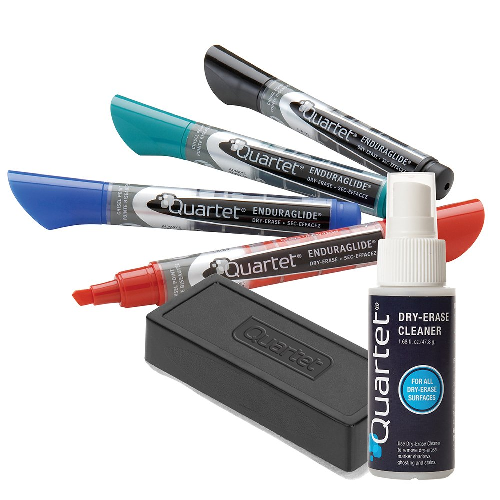 Quartet Dry Erase Markers Accessory Kit, 4 Chisel Point EnduraGlide Dry Erase Markers, an Eraser & Cleaning Spray (5001M-4SK) by Quartet (Image #1)