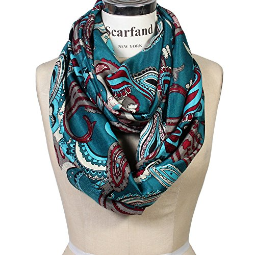 - Scarfand Vibrant Painting Artistic Print Infinity Scarf (Paisley Teal)