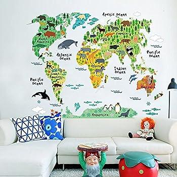 Amazon decor mi kids educational puzzles animal world map decor mi kids educational puzzles animal world map wall decals sticker home decor art decoration gumiabroncs Gallery