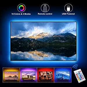 LightingWill LED TV Backlights, 5V 2M/6.6ft USB Powered Bias Lighting Kits with RF Remote Controller (16 Colors and 4 Dynamic Modes) for 40 to 60 Inch HDTV, PC Monitor and Home Theater