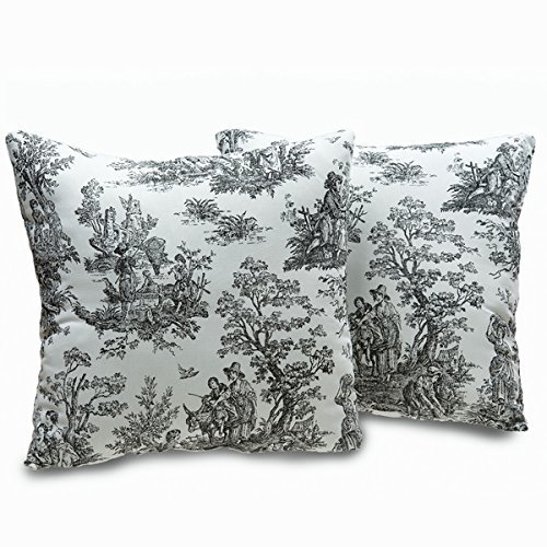 (Plymouth Toile 18-inch Decorative Throw Pillows (Set of 2))