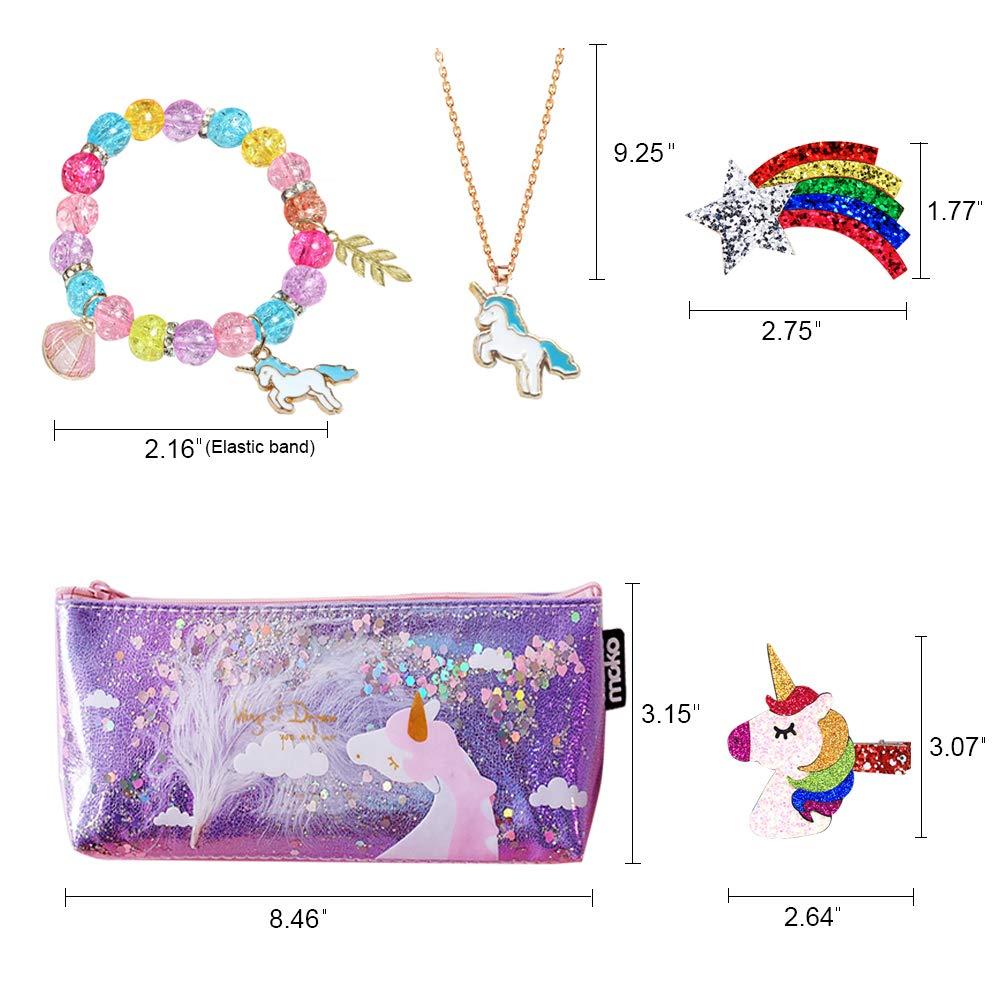Siteer 8PCS Unicorn Gift for Girls Included Hair Clips Bracelet Necklaces Earrings Drawstring Bag