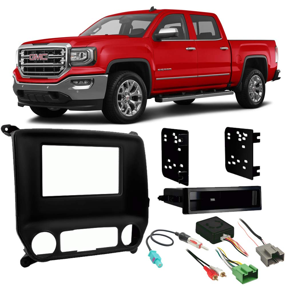 Fits GMC Sierra 2015-2017 Single or Double DIN Stereo Install Dash Kit w/ 4.2'' Radio