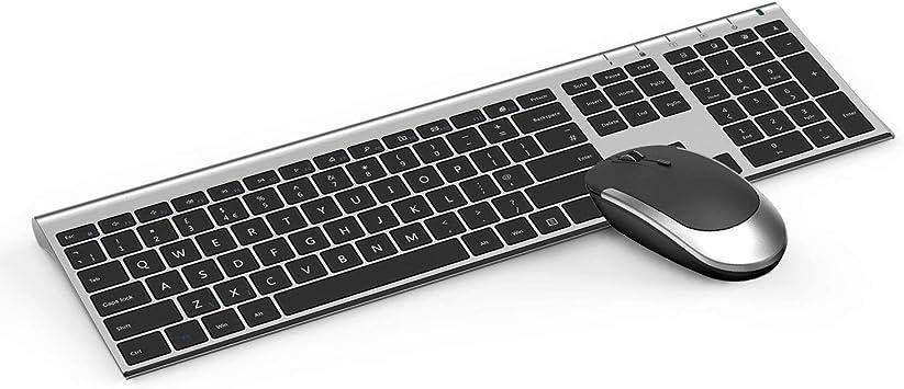Teclado y ratón Jelly Peb, teclado inalámbrico recargable de 2,4 G y ratón inalámbrico con receptor USB para PC/portátil/computadora, Windows/Linux/iMac, diseño de tamaño completo, color blanco: Amazon.es: Electrónica
