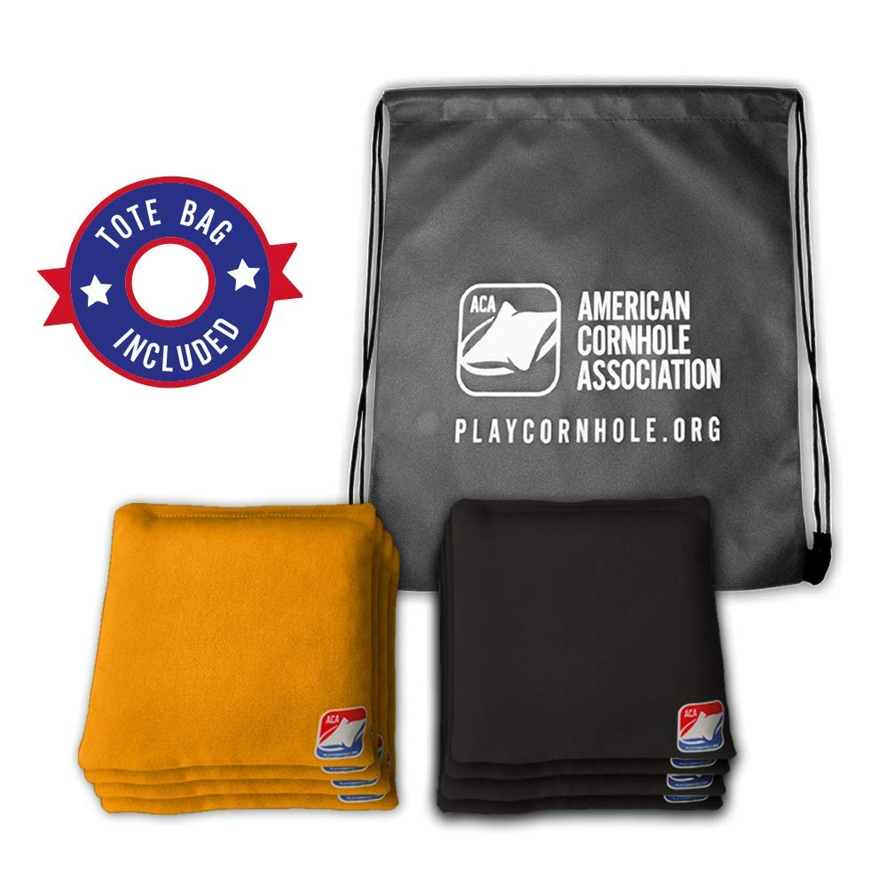 Official Cornhole Bags from The American Cornhole Association - 6'' Double-Stitched Corn-Filled Bean Bags for Corn Hole Outdoor Game - Regulation Size - Gold & Black