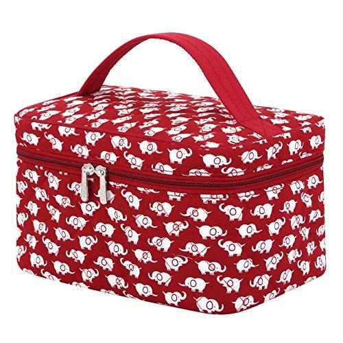 (Makeup Bag Cute, Pataya Printing Series Soft Cartoon Travel Toiletry Organizer Hanging Toiletry Kit Women Carry-on Cosmetic Bag (Red)