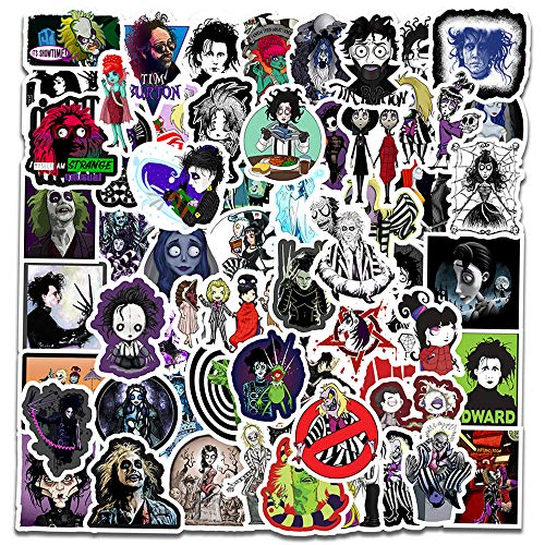 🥇 Halloween Tim Burton Movies Stickers for Kids [60pcs] Gifts for Laptop Bike Tumbler Party Cup Folder Car Guitar Motorcycle Luggage Skateboard