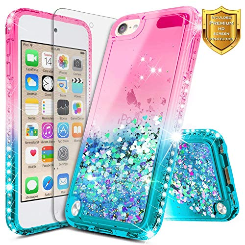 iPod Touch 5 / iPod 6 Case w/[Screen Protector Premium Clear], NageBee Glitter Liquid Quicksand Waterfall Flowing Sparkle Bling Diamond Girls Cute Case for iPod Touch 6th / 5th Generation -Pink/Aqua