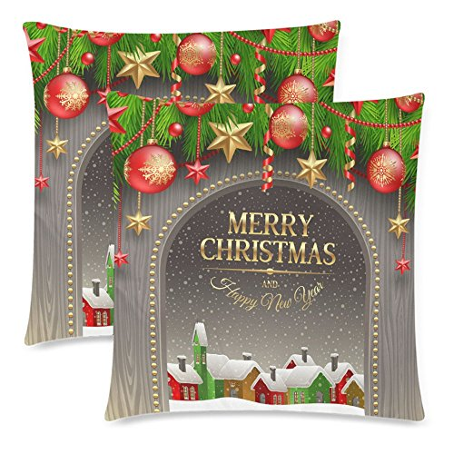InterestPrint Christmas Holidays Decoration Pillow Cushion Cover 18x18 Twin Sides, Bauble Winter Village Polyester Zippered Throw Pillow Case Pillowcase Protector, Set of 2 (Custom Baubles Christmas)