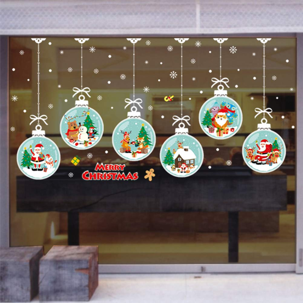 Merry Christmas Sticker Santa Claus Window Clings Decoration Christmas Tree Shop Mall Window Glass Wall Sticker Reindeer Christmas Snowman Snowflake Window Sticker Static Sticker Self-adhesive Party Supplies (2 Sheets) (L)