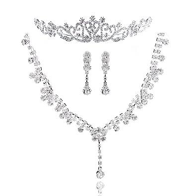 Brautschmuck kette+ohrringe  Fashion Schmuckset 3 tlg. Brautschmuck Halskette Ohrringe Diadem ...