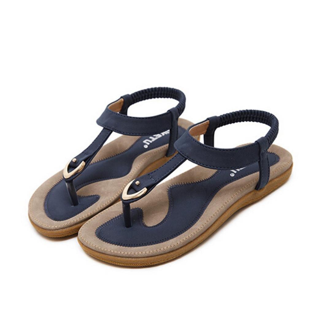 katliu Damen Sandalen Zehentrenner Sommer Strand Flach Böhmen Sandaletten Clip Toe Strass Perlen Schuhe, Blue 38