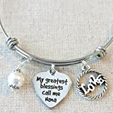 Gift for NANA, Nana Bangle Bracelet, My Greatest Blessings Call Me Nana Bracelet