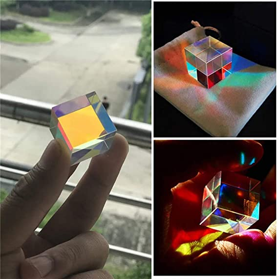 1Pc Optical Glass X-cube Dichroic Cube Prism RGB Combiner Splitter Science Toy L