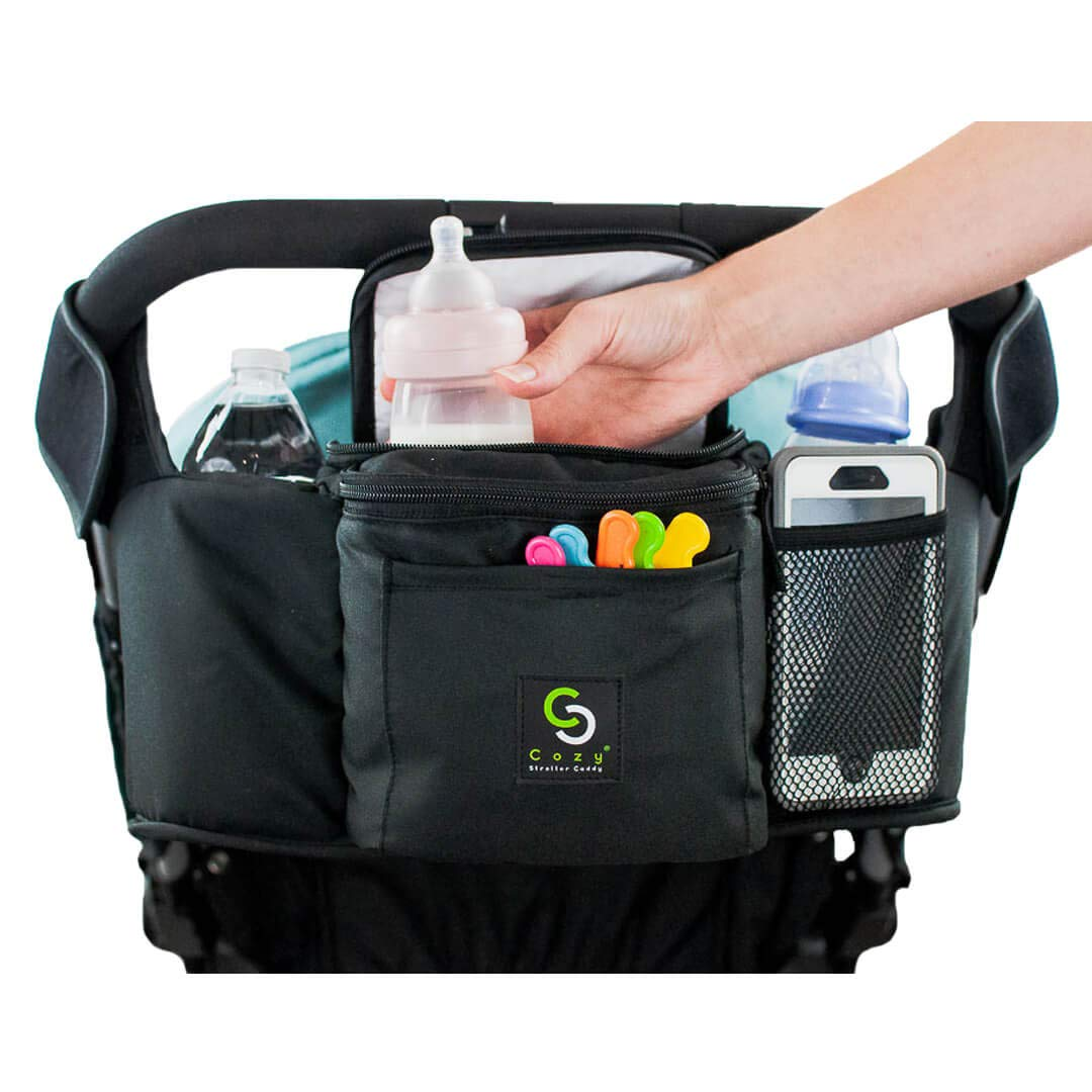 3 Separate Spaces Milk Diapers 2 Deep Cup Holders - Everything Mom Needs on Stroller Front Cellphone Holder Wallets Perfect Baby Shower Gift Cozy Stroller Caddy Organizer Black, Insulated
