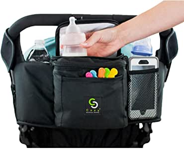 Cozy Stroller Caddy Organizer (Black, Insulated) - Everything Mom Needs on Stroller - 2 Deep Cup Holders, 3 Separate Spaces, Front Cellphone Holder, Wallets, Diapers, Milk - Perfect