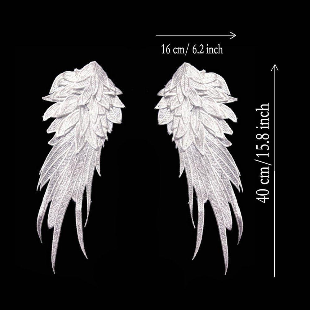 Small, White Ancefine Women Sew on Angel Wing Neckline Lace Trim Applique