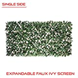 The Patio Shop PS1548S Expandable Faux Artificial Ivy Trellis Fence Privacy Screen Wall Garden Backyard Home Decorations, Singe Side eaves, Green