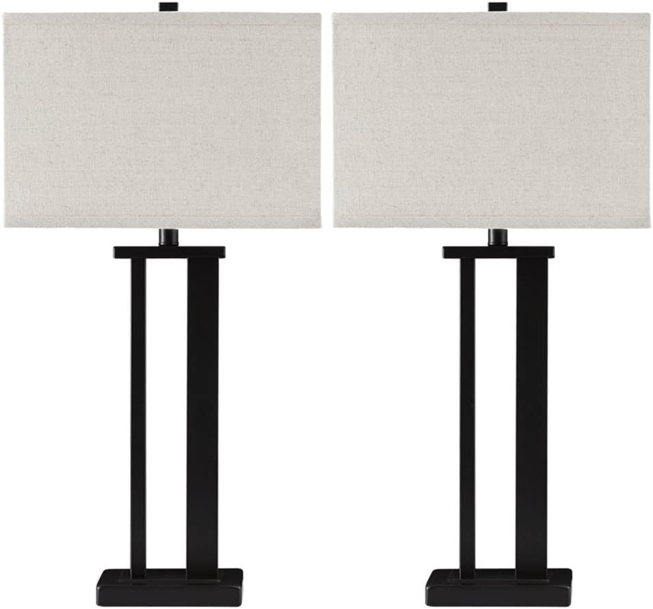 Ashley Furniture Signature Design - Aniela Metal Table Lamp - Sleek - Set of 2 - Black