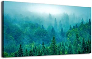 Green Forest Canvas Wall Art Large Foggy Nature Picture Canvas Artwork Mountain Landscape Decoration for Living Room Bedroom Bathroom Kitchen Office Home Wall Decor Framed Ready to Hang 24