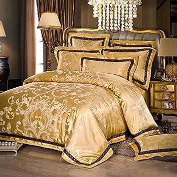 ShineMoon Home Chambre à Coucher élégante Doré Parure de lit de