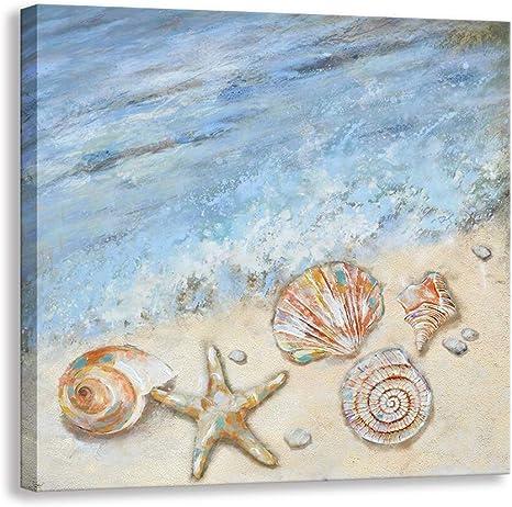 Starfish And Seashell On The Art//Canvas Print Home Decor Wall Art Poster