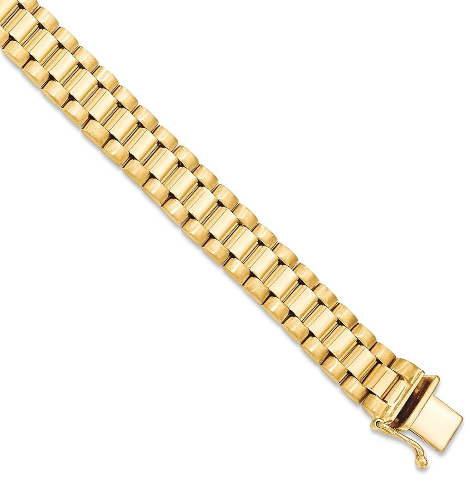 ICE CARATS 14k Yellow Gold Mens Bracelet 8 Inch H Link Man Men Fine Jewelry Dad Mens Gift Set
