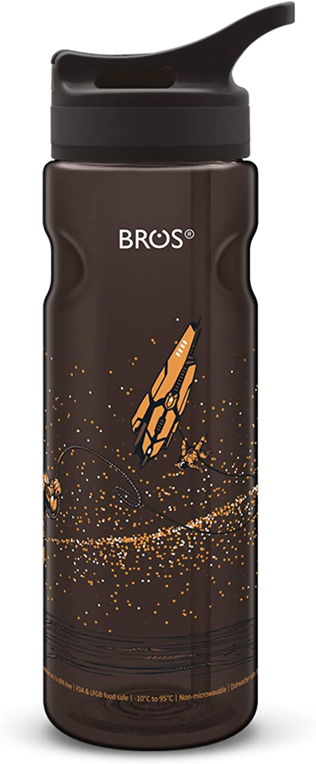 Easy to use with Fun and Stylish Designs Flip BROS BPA Free Sports Water Bottle with Straw Outdoor and Activities Spill Proof and Durable Leak Proof Press to flip Perfect for Fitness