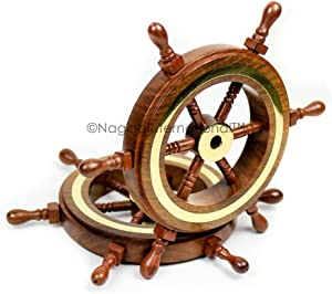 Nagina International Hand Crafted Premium Nautical Wooden Ship Wheel | Exclusive Pirate's Wall Decor | Ocean & Beach Maritime Nursery Decorative Hanging (9 Inches, Natural Wood - Brass Ring)