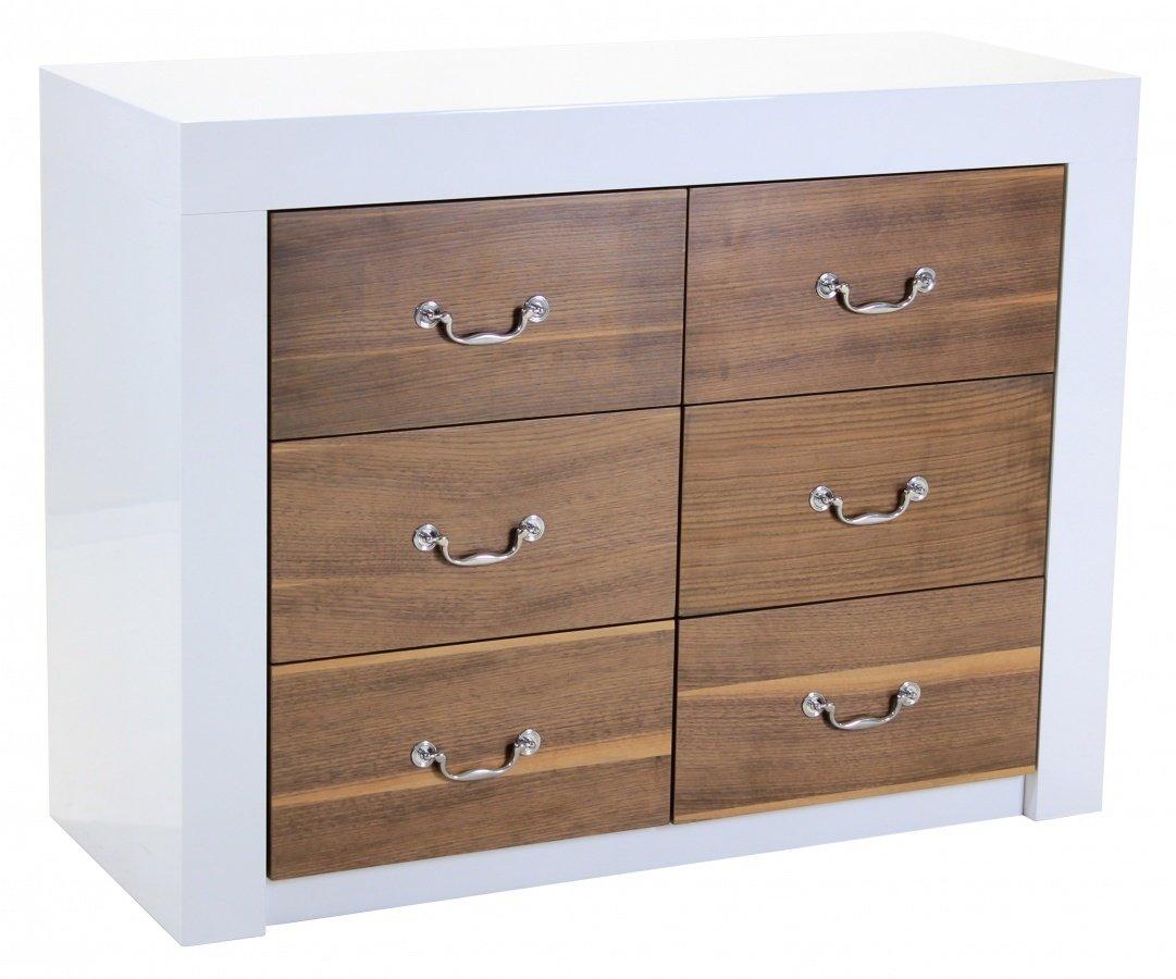 Heartlands Furniture Warwick High Gloss Sideboard with Walnut Veneer, White
