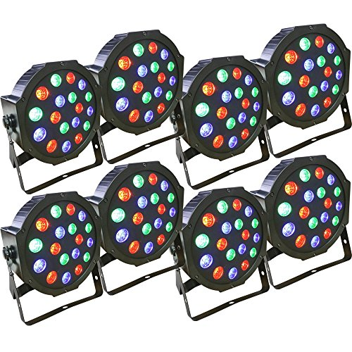 8 Piece Up-Lighting - Full RGB Color Mixing LED Flat Par Can - 18 LEDs per light - Red, Green and Blue color mixing - Up-Lighting - Stage Lighting - Dance Floor Lighting - Adkins Professional Lighting