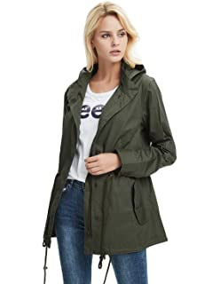Cekaso Women s Anorak Jacket Lightweight Drawstring Hooded Military Parka  Coat 45df51254694