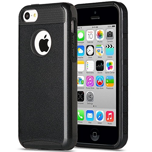 iPhone 5C Case, MCUK 2 In 1 High Impact Hybrid with Soft TPU and Hard PC Scratch-Resistant and Shock-Absorption Protective Case for Apple iPhone 5C (Black) (Ballistic 5c Jewel)