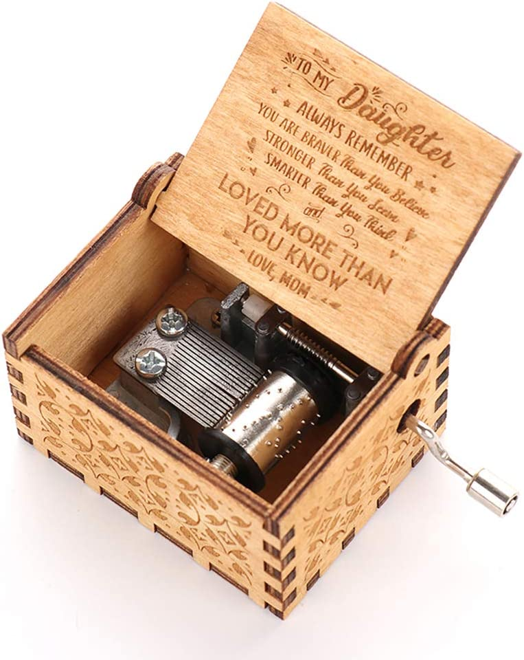 Takefuns Wooden Music Box Hand Crank Engraved Musical Box/ï/¼/ŒPlay The Tune You are My Sunshine Mechanism Antique Vintage Personalizable Unique Birthday Gift for Daughter from Mom