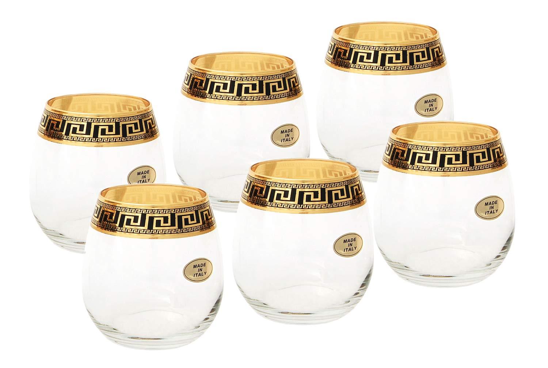 ArtDecor Greek Key Pattern, 11 Oz Stemless Wine Beverage Crystal Glasses